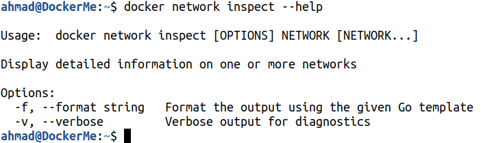 docker network inspect --help