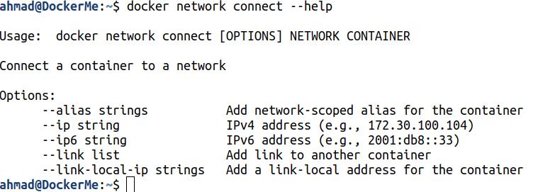 docker network connect --help