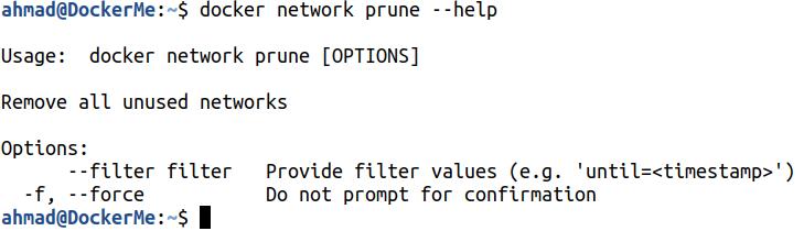 docker network prune --help
