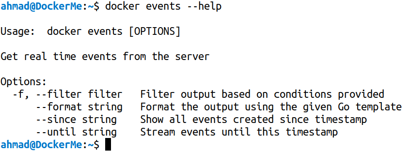 docker events --help