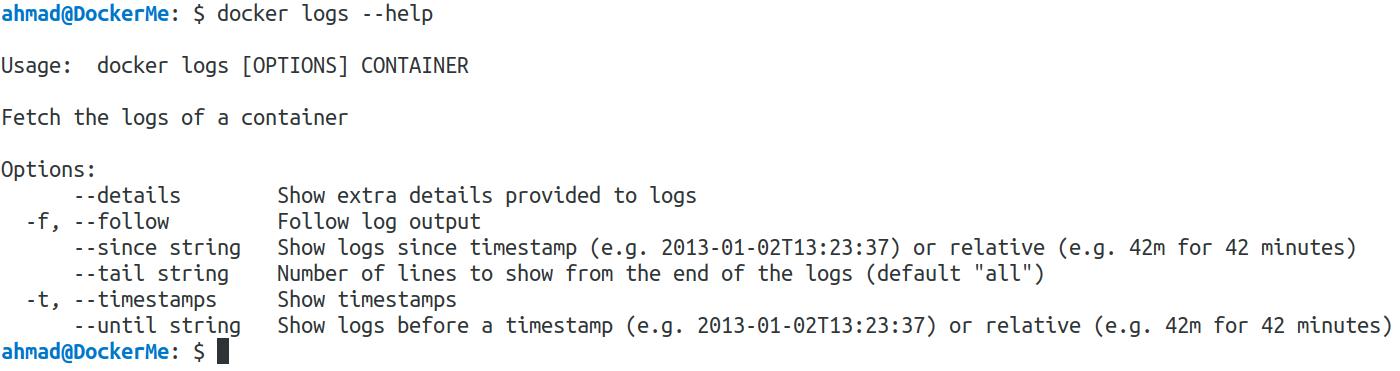 docker logs --help