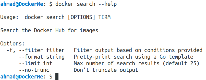 docker search -h