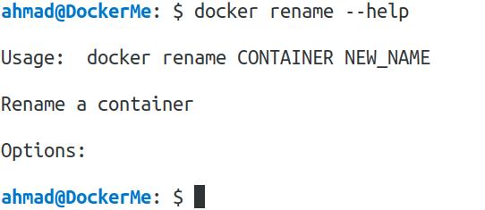 docker rename --help