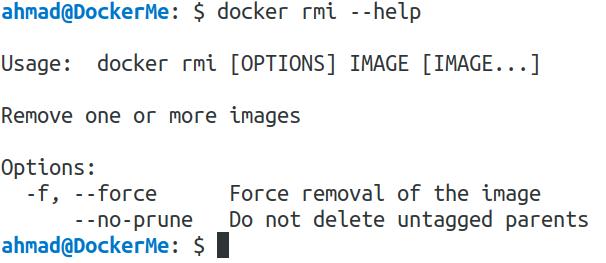 docker rmi --help
