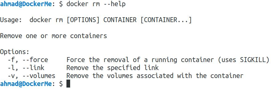 docker rm --help
