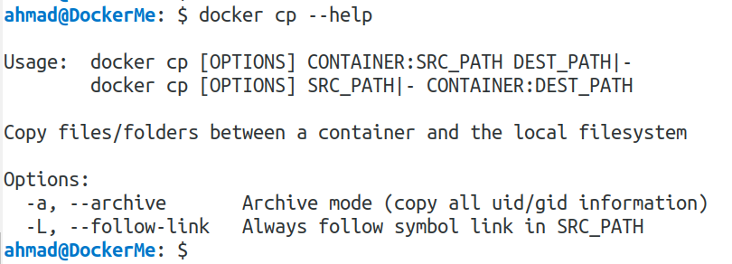 docker cp --help