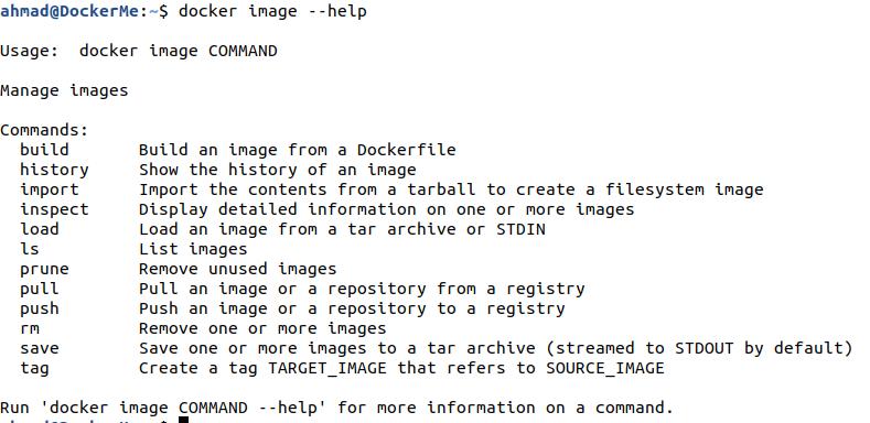 docker image --help