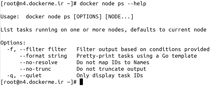 docker node ps --help