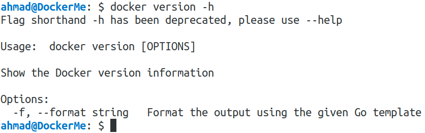 docker version -h