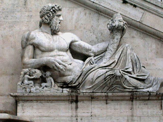 مجسمه خدای رودخانه تیبر، ماده گرگ، روموس و رومولوس