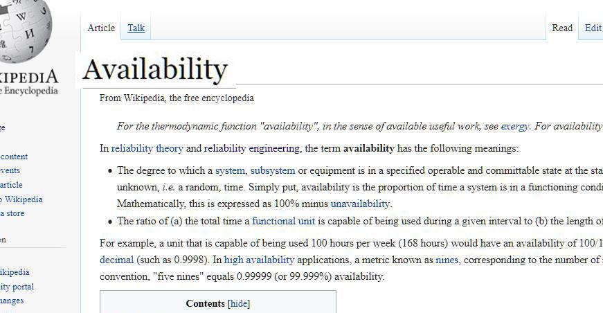 اصطلاح فارسی Availability سیستم در مهندسی
