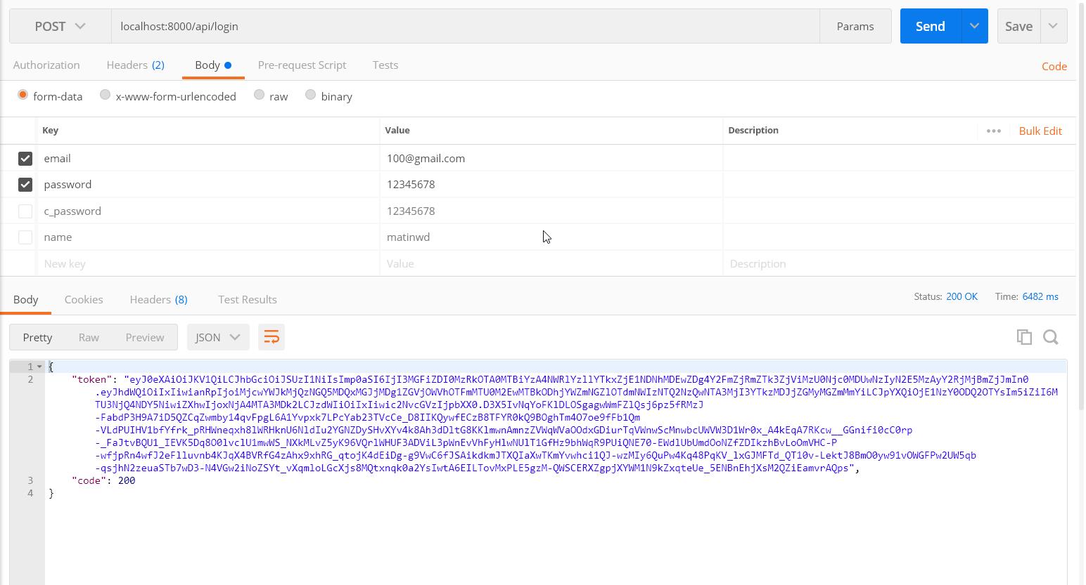 کار با Laravel passport و احراز هویت login و register
