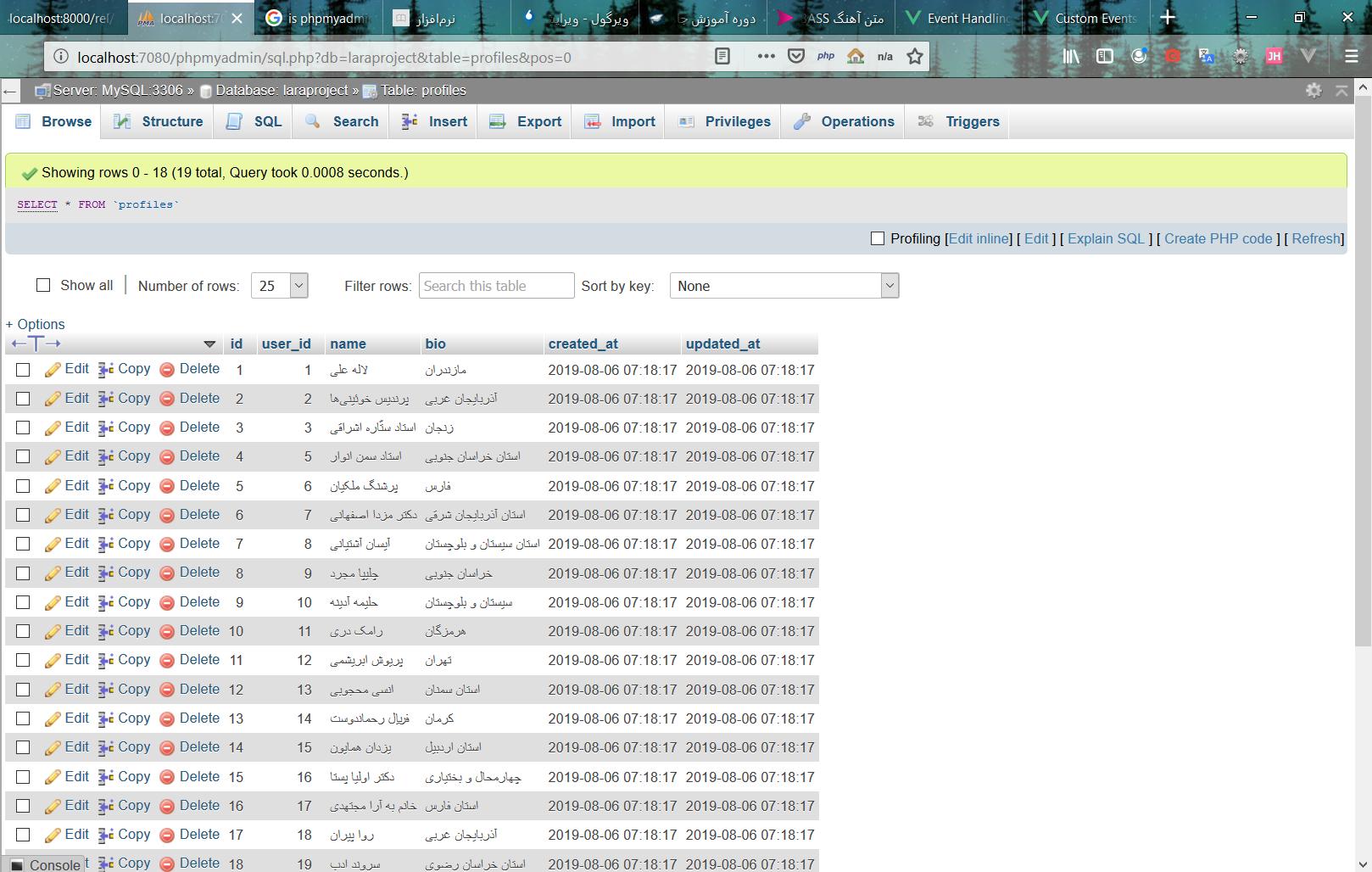 اموزش وارد کردن اطلاعات فیک در لاراول