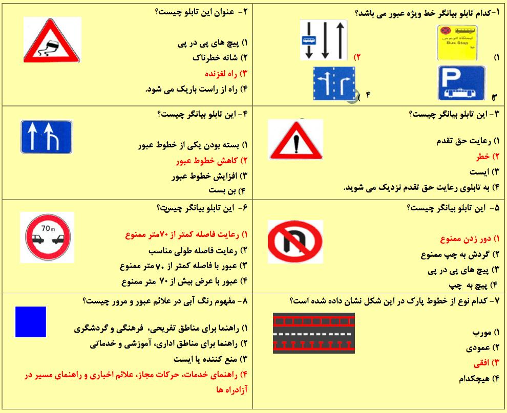 نمونه سوال امتحان راهنمایی و رانندگی