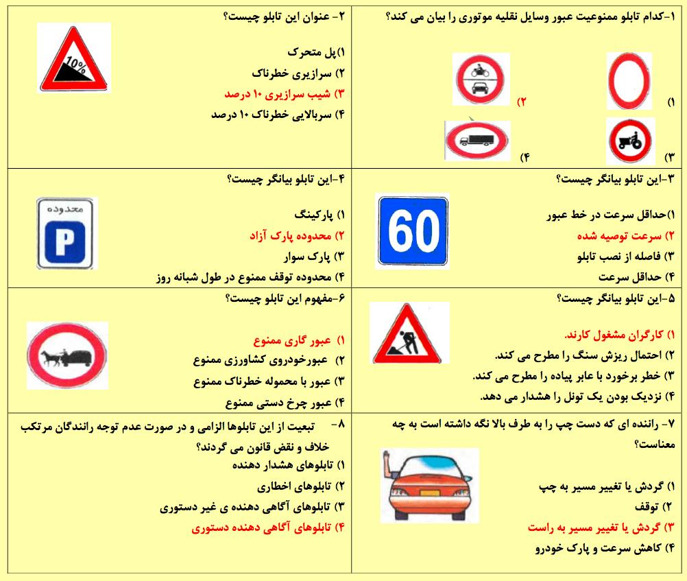 نمونه سوال آزمون آیین نامه راهنمایی و رانندگی