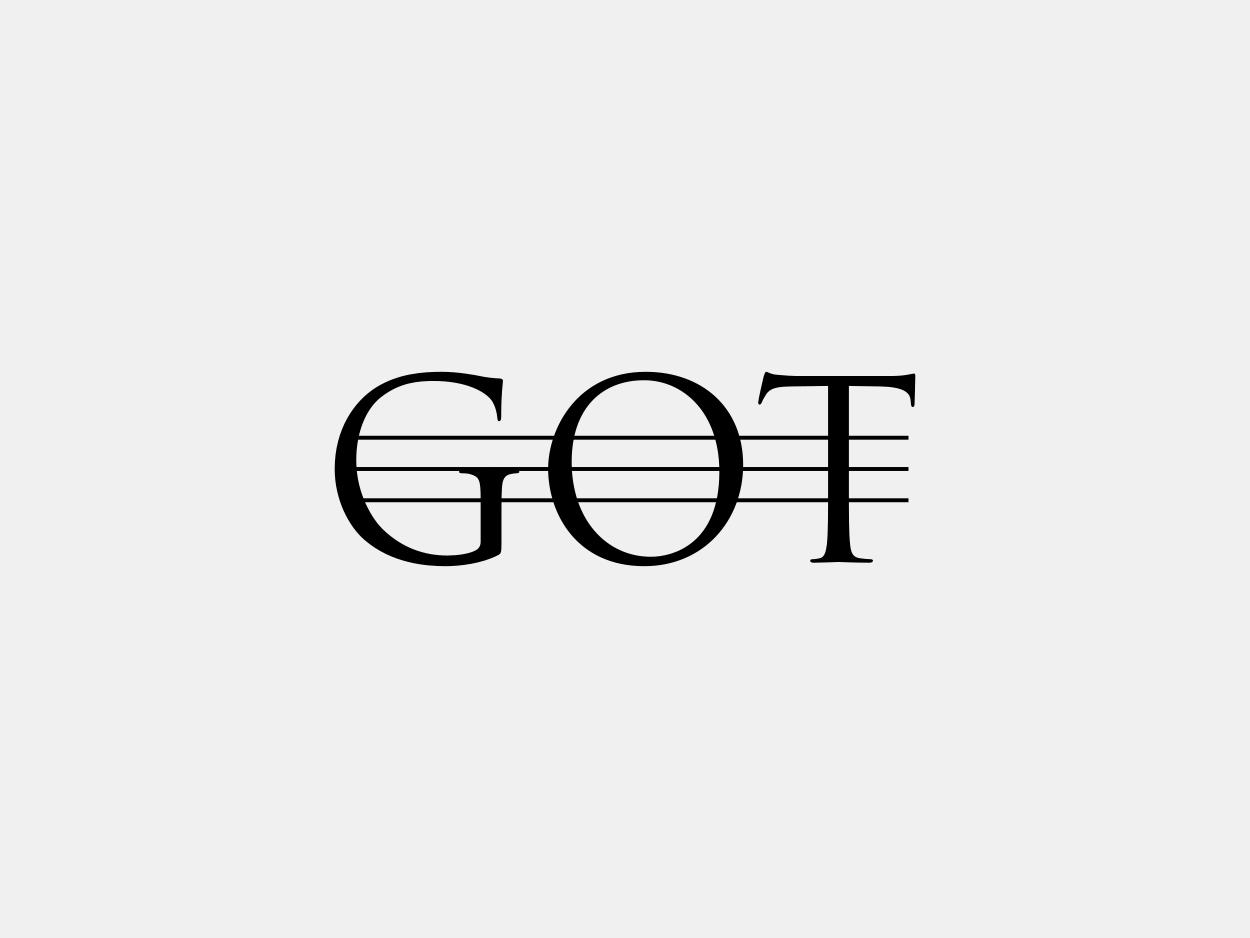 تایپوگرافی GOT با سه خط افقی روی تمام کلمه به جای سه خط عمودی داخل حرف O