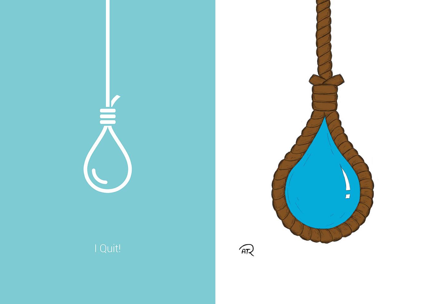 دو طرح از یک قطرهی آب که با طناب، حلقآویز شده