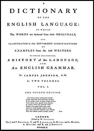 Johnson Dictionary modern English