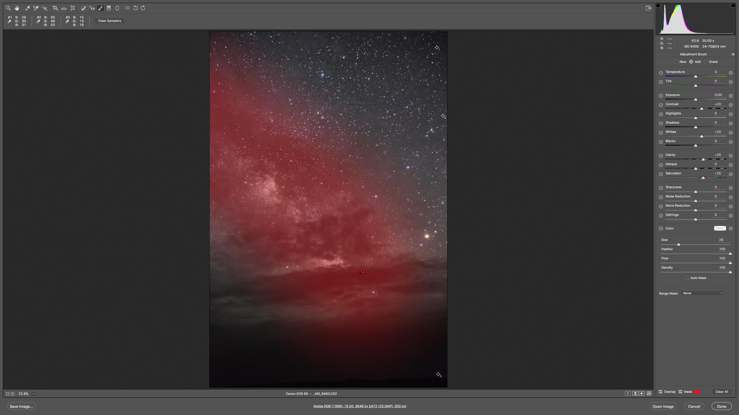 عکس ۱۰: فیلتر قلمو برای تاکید بر کهکشان راه شیری