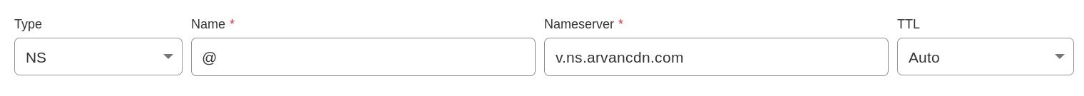 رکورد های NS مربوط به ابرآروان را در Cloudflare وارد میکنیم