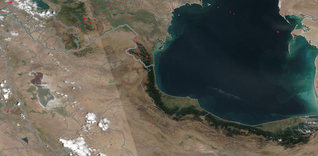 تصویر ناسا - مناطقی که آتش سوزی رخ داده و ماهواره تشخیص داده