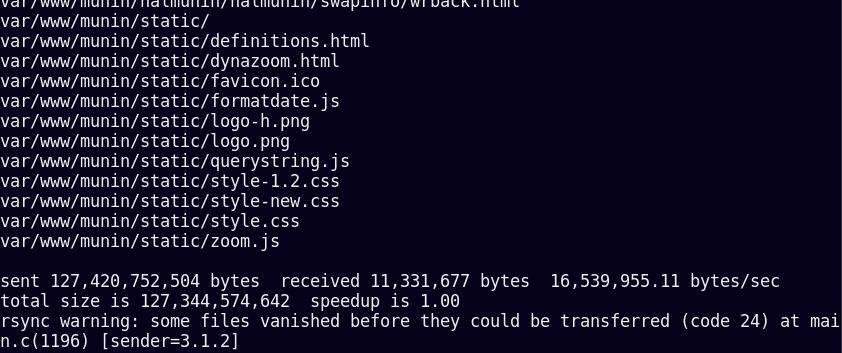 پایان کار اولین backup از کل سیستم با rsyn