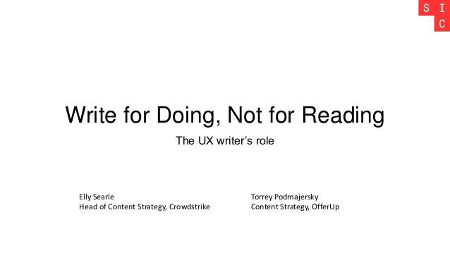 برای انجامدادن بنویس، نه برای خواندن – شعار یک ارائه درباره حرفه نویسنده یو ایکس در سال ۲۰۱۷