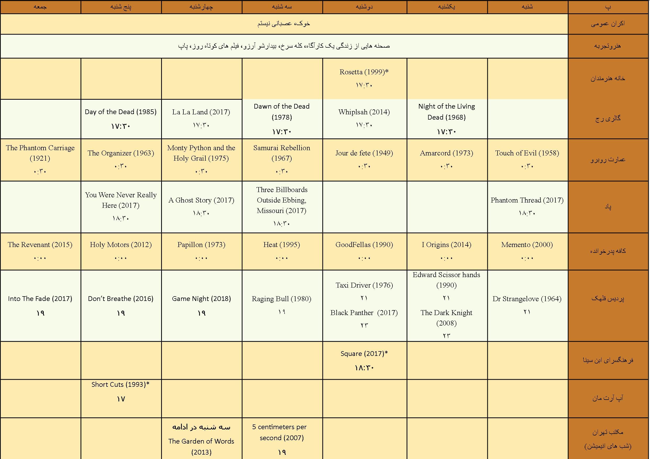 برنامه های سینمایی هفته دوم خرداد