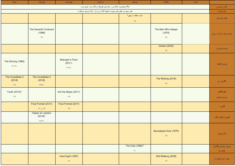 برنامه های سینمایی هفته اول آبان