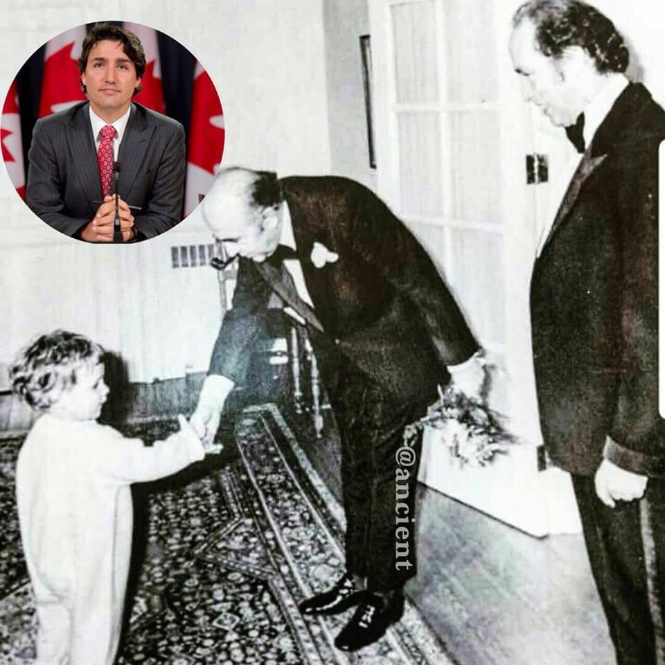 هویدا نخست وزیر معدوم ایران به همراه جاستین کوچک
