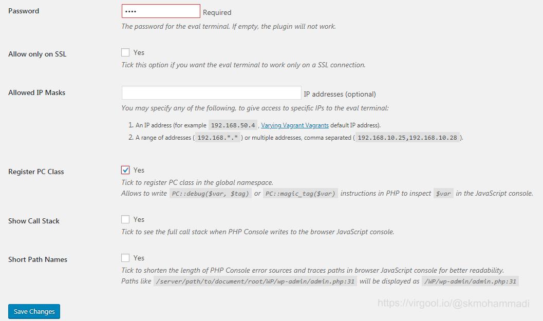 تنظیمات اولیه افزونه وردپرسی PHP Console
