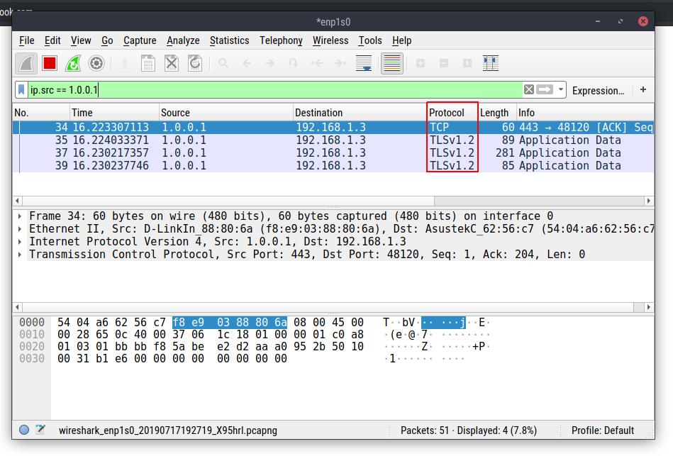 وقتی از DoH استفاده میکنیم. چون ترافیک رمز گذاری شده، WIreshark حتی نمیتونه تشخیص بده که این پکت مربوط به یه DNS Query هست! (برخلاف اسکرینشات های قبلی)