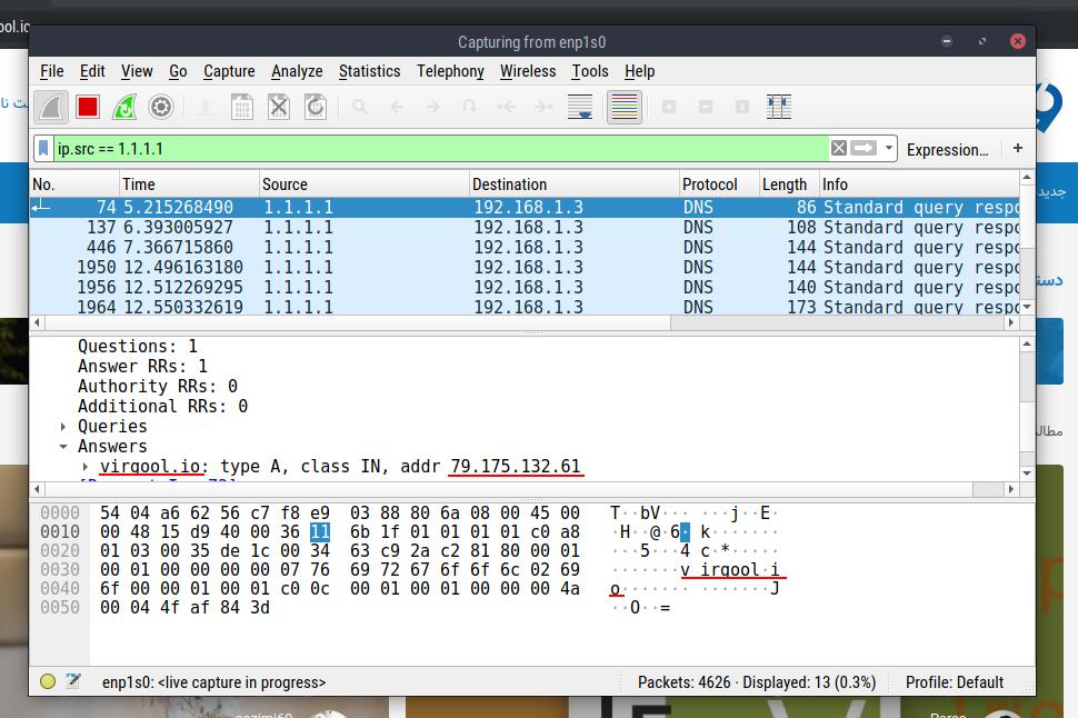 اون پایین محتویات خام پکت رو میبینید که چون رمزنگاری نشده آدرس سایت توش مشخصه. اون وسط هم آدرس و آیپی ویرگول که از سرور DNS گرفتیم رو میبینید.