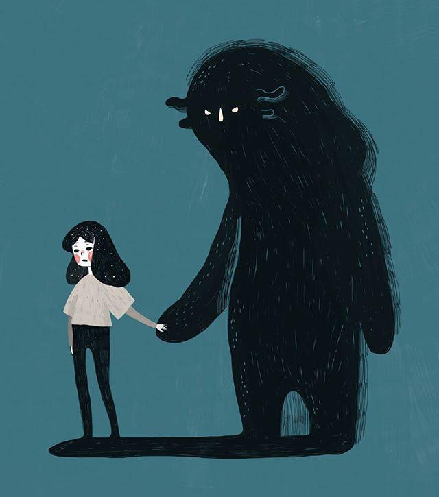 افسردگی:یه غول بی شاخ و دم که همه جا باهام میومد....