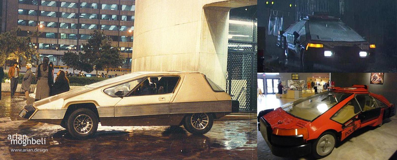 تصویر سمت راست یکی از خودروهای فیلم blade runner | تصویر سمت چپ یکی از خودروهای total recall