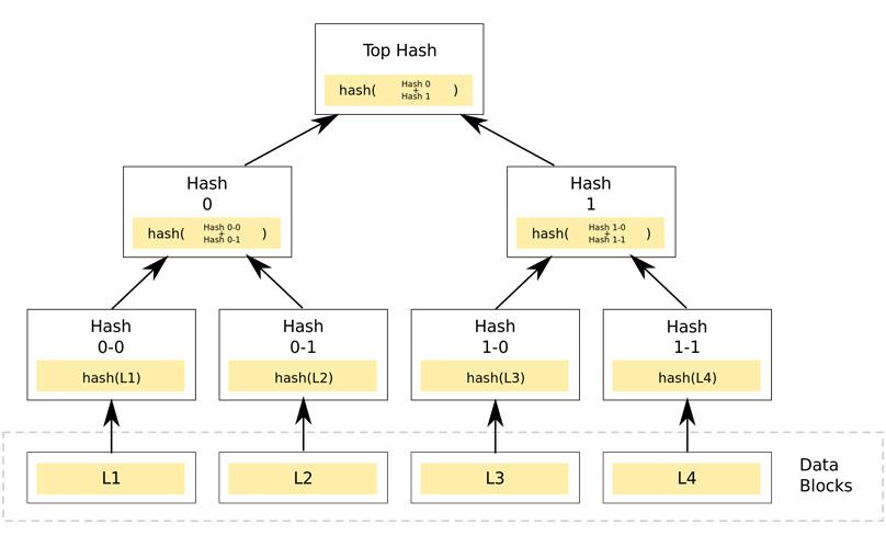 نمونهای از درخت مرکل دودویی در شبکههای بلاکچین