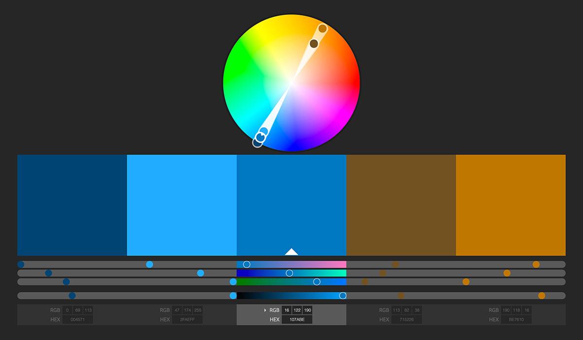 رنگهای مکمل برای کد رنگی 107ABE# (رنگ برند ویرگول)