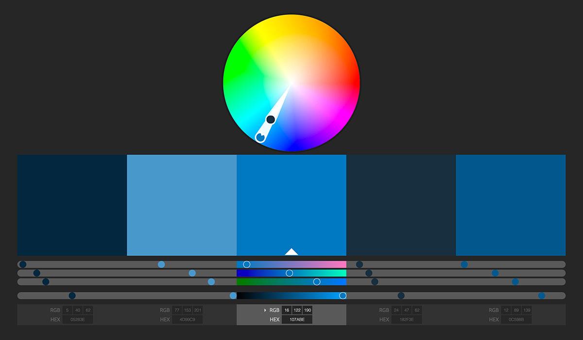 رنگهای مکمل برای کد رنگ 107ABE# (رنگ برند ویرگول)