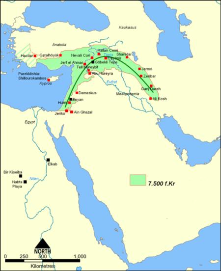 هلال حاصلخیز ۷۵۰۰ سال قبل. عکس از ویکیپدیا