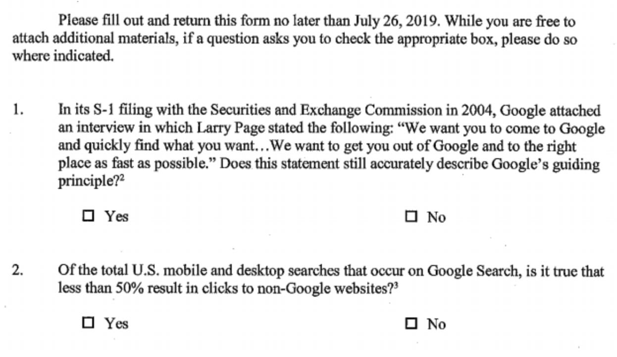 سوالات شفاف کنگره از گوگل