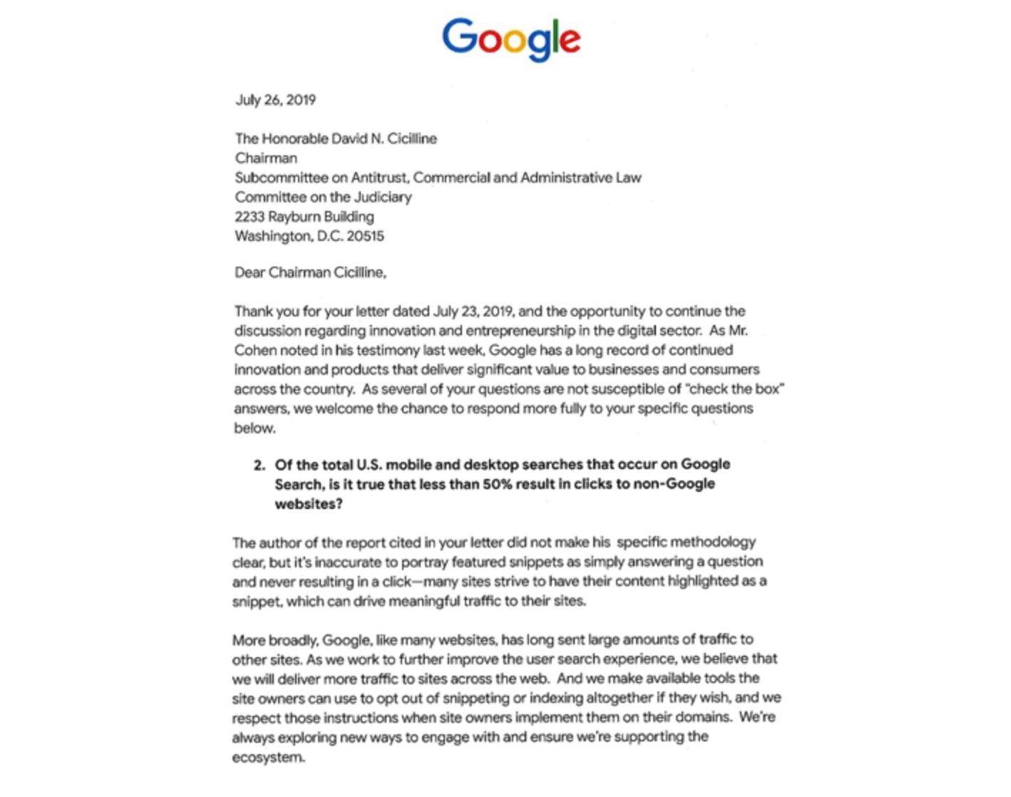 پاسخ گوگل به کنگره آمریکا