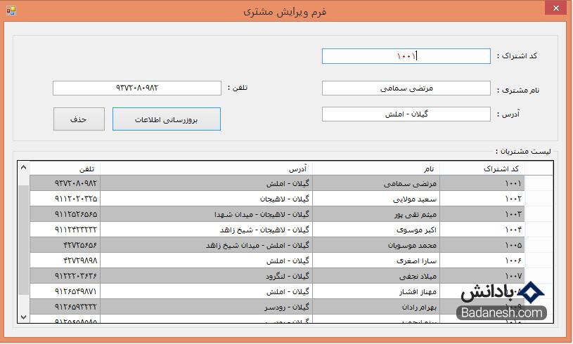 آموزش برنامه نویسی سی شارپ به زبان ساده و پروژه محور – فرم ویرایش و حذف اطلاعات مشتریان فروشگاه