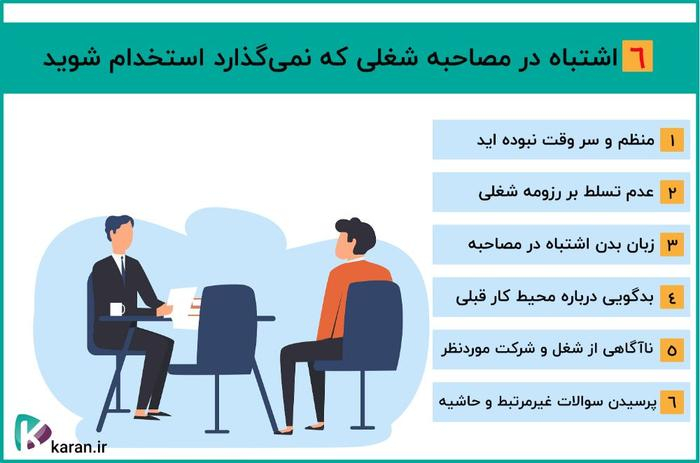 6 اشتباهی که نباید سر مصاحبه استخدامی انجام بدیم