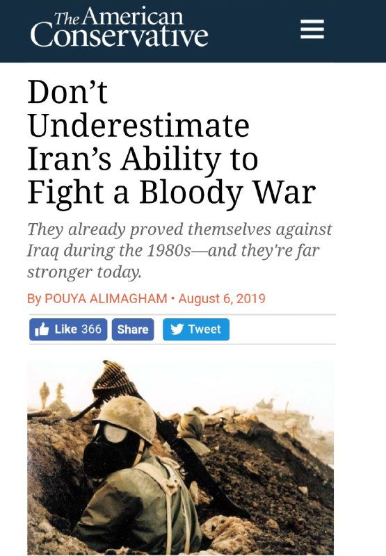 امریکن کانسرواتیو :توانایی ایرانی برای مبارزه در جنگ خونین را دست کم نگیرید