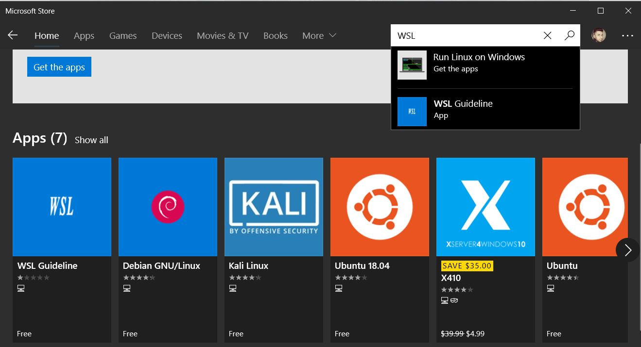 Windows Store WSL