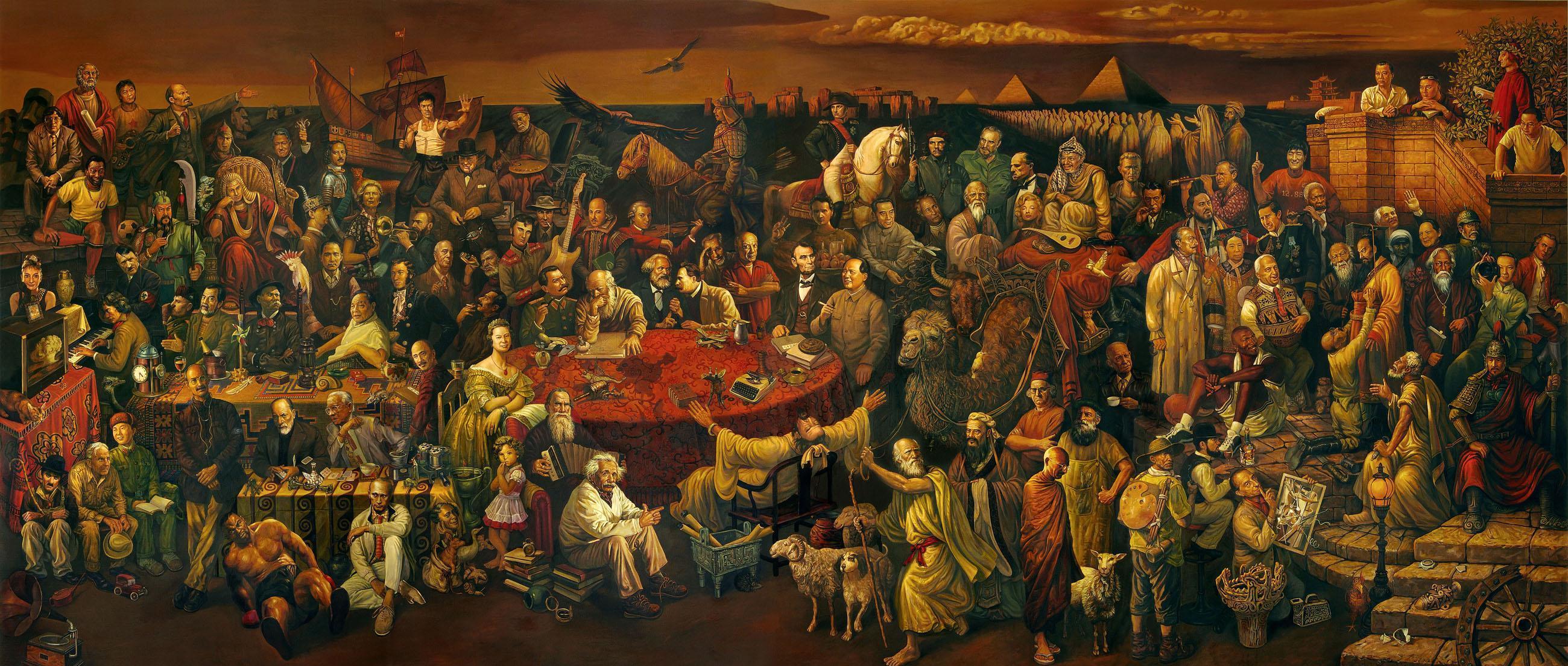 نقاشی مشاهیر تاریخ در یک قاب