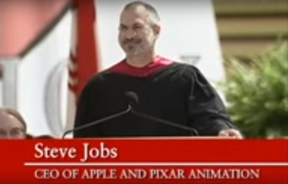 سخنرانی استیوجابز در دانشگاه استنفورد 2005(تصویر از ویدئو گرفته شده)