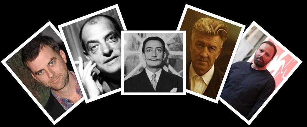 راست به چپ: لورگوس یانتیموس، دیوید لینچ، سالوادور دالی، لوییس بونوئل، پائول توماس اندرسون