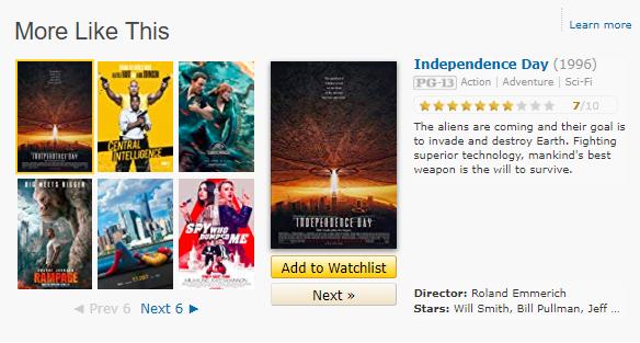 قسمت فیلمهای پیشنهادی در صفحه یک فیلم در IMDB