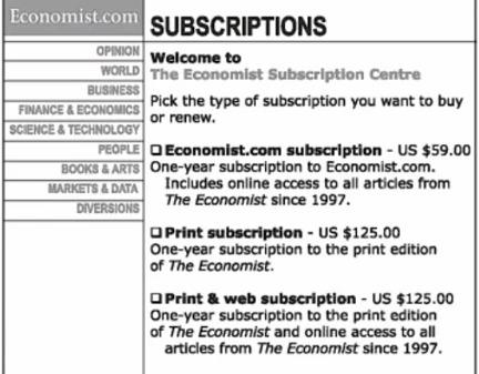 مثال مشهور اکونومیست برای افزایش فروش اشتراک
